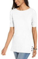 Karen Scott Elbow-Sleeve Stud-Trim Tunic, Created for Macy's