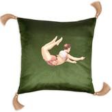 Lush Melody Rose London Trapeze Boy Velvet Cushion Meadow Green