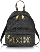 Moschino Black Quilted Nylon Small Backpack w/Studs