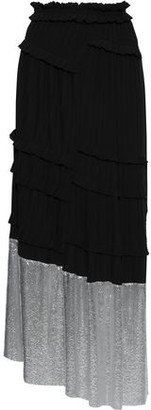3.1 Phillip Lim Chainmail-paneled Pleated Crepe Maxi Skirt