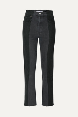 E.L.V. Denim - Net Sustain The Twin Two-tone High-rise Straight-leg Jeans - Black
