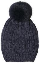 Adrienne Landau Knit Hat with Real Fox Fur Pom-Pom