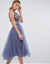 Little Mistress Embellished Midi Dress with Tulle Skirt