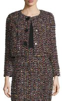 Escada Sequined Tweed Cropped Jacket, Black