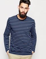 Farah T-shirt With Breton Stripe Long Sleeves - Blue