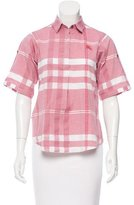 Burberry Check Print Button-Up Top