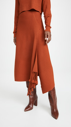 Jonathan Simkhai Grace Draped Fringe Crossover Skirt