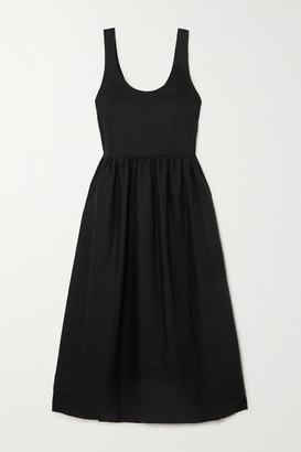 &Daughter Marie Pleated Linen Midi Dress - Black