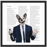 Marmont Hill Frenchie with Wine Bottle 24-Inch Square Framed Wall Art