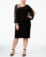 Betsy & Adam Plus Size Embellished Chiffon Popover Dress