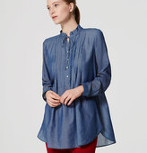 LOFT Chambray Ruffle Tunic Softened Shirt
