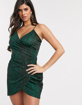 Ivyrevel strappy wrap midi dress in green snake print