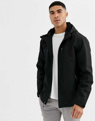 Free Country hooded jacket with sherpa lining-Black