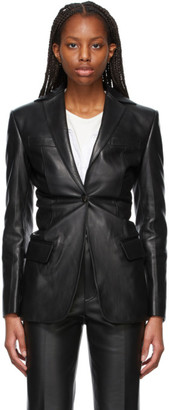 Alexander Wang Black Leather Single-Breasted Blazer