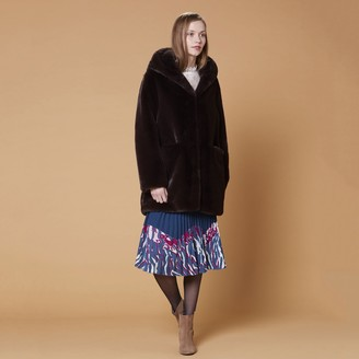 Derhy Gabonback Faux Fur Coat with Hood