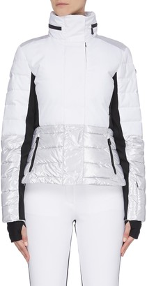 Erin Snow 'Sari' colourblock panelled cinched waist hooded puffer jacket