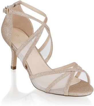 Paradox London Helka Champagne Extra Wide Fit Ankle Strap Sandals