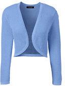 Lands' End Women's Petite Supima 3/4 Sleeve Pointelle Bolero Sweater-Fresh Sky