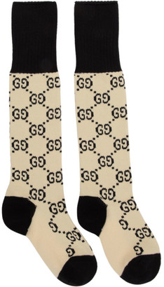 Gucci Off-White and Black GG Supreme Long Socks