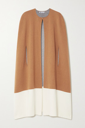 Johnstons of Elgin Two-tone Stretch-cashmere Cape - Camel