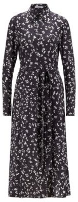 HUGO BOSS Long Length Printed Shirt Dress With Detachable Slip - Patterned