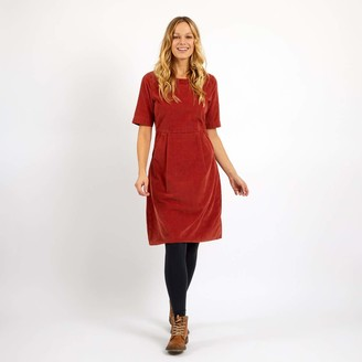 Weird Fish Domino Cord Dress Chilli Red Size 18