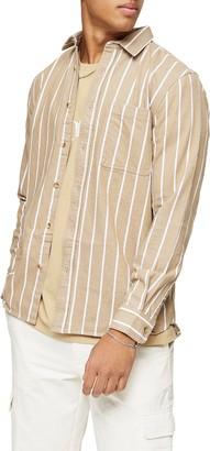 Topman Pinstripe Button-Up Denim Shirt