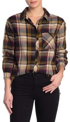 BeachLunchLounge Plaid Flannel Fringe Hem Shirt