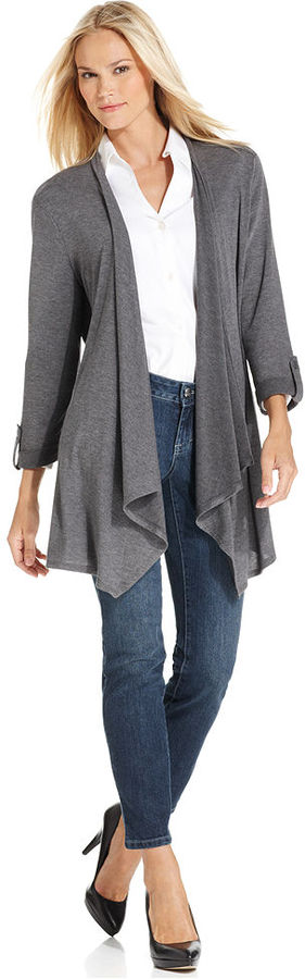 Style&Co. Sweater, Three-Quarter-Sleeve Draped Cardigan