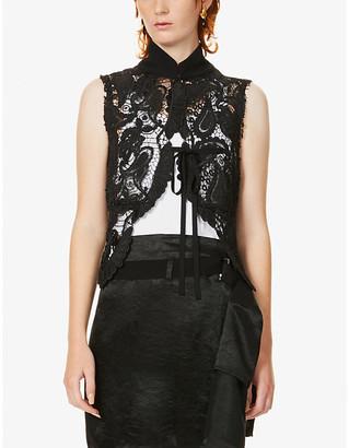 Ann Demeulemeester High-neck sleeveless lace vest