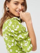 Very Crepe Neck Button Through Midi Dress - Print