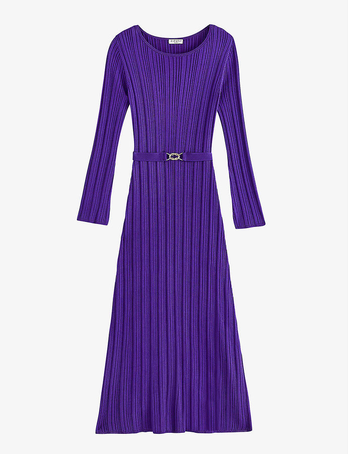 Claudie Pierlot Muenium belted ribbed-knit maxi dress