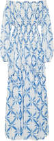 Ermanno Scervino Printed Off-The-Shoulder Crepe de Chine Maxi Dress