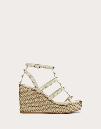 Valentino Rockstud Calfskin Wedge Sandal With Straps 95 Mm Women Light Ivory Calfskin 100% 38