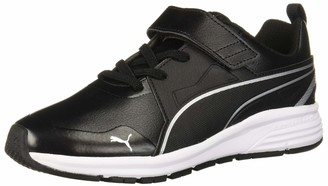 Puma Men's Pure Jogger Velcro Sneaker Black Silver White 12.5 M US Little Kid