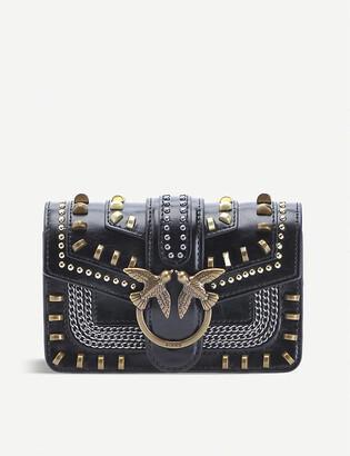Pinko Love Mix embellished leather shoulder bag