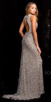 Scala Sequin Keyhole Back Sweep Train Prom Dress