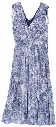 Taylor Tie Shoulder Floral Print Mesh Midi Dress (Plus Size)