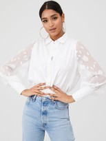 In The Style Sheer Floral Burnout Organza Shirt With Cuffs - White