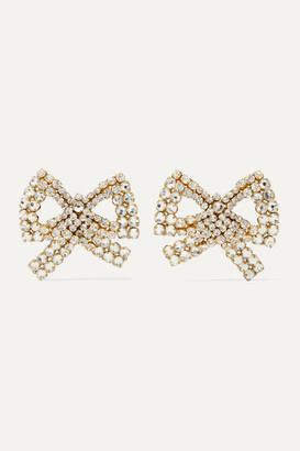 Rebecca De Ravenel Tie Me Up Gold-plated Crystal Clip Earrings