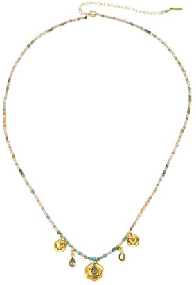 Chan Luu 18K Goldplated & Compressed Turquoise Mixed Bead Charm Necklace