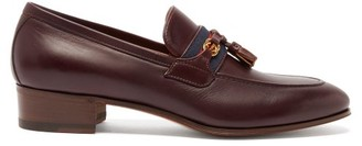 Gucci Paride Web-striped Leather Loafers - Burgundy