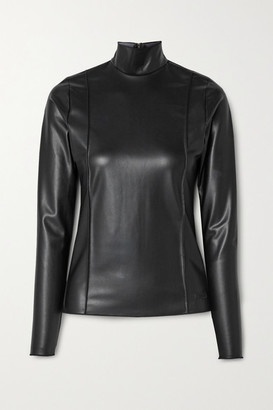 Peter Do Faux Leather Turtleneck Top - Black
