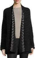Iris von Arnim Airy Open-Stitch Cashmere Cardigan, Black Pattern