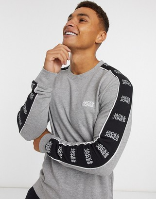Jack and Jones Core sweat with side stripe logo in gray
