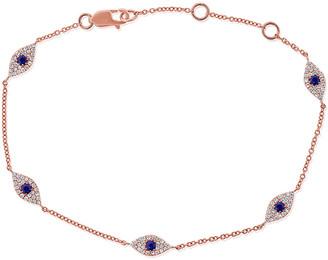 Sabrina Designs 14K Rose Gold 0.45 Ct. Tw. Diamond & Sapphire Evil Eye Bracelet