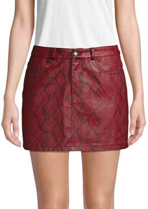 Vigoss Snakeskin Faux Leather Mini Skirt