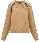 Colville - Round-neck Contrast-stripe Wool Sweater - Womens - Camel