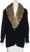 Joie Faux Fur-Trimmed Wool & Cashmere Cardigan w/ Tags