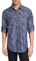 James Campbell Men's Regular Fit Floral Print Sport Shirt